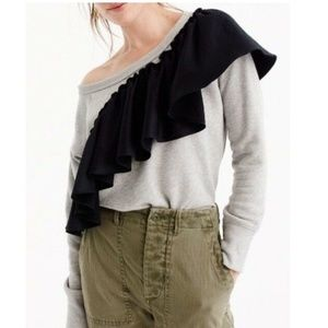 J. Crew Assymetrical Ruffle Sweatshirt Size Medium